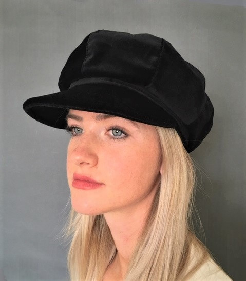 ed6b03230cdd3 The classic Baker Boy hat in smart black velvet. An 8 panel soft cotton velvet  hat that has elastic at the back to fit all sizes.