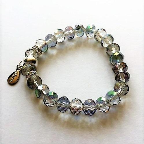 rainbow plated glass bead bracelet with tassel carrier