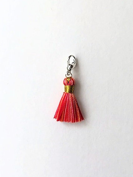 Carnival (mixed colours) silk tassel charm  - 20mm