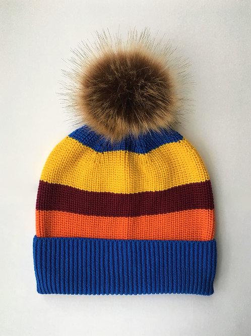 Cashmere blend rib knit beanie stripe
