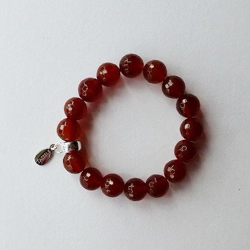 Red Carnelian agate bead bracelet with tassel charm carrier