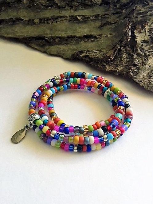 Multi colour wrap seed bead bracelet/necklace