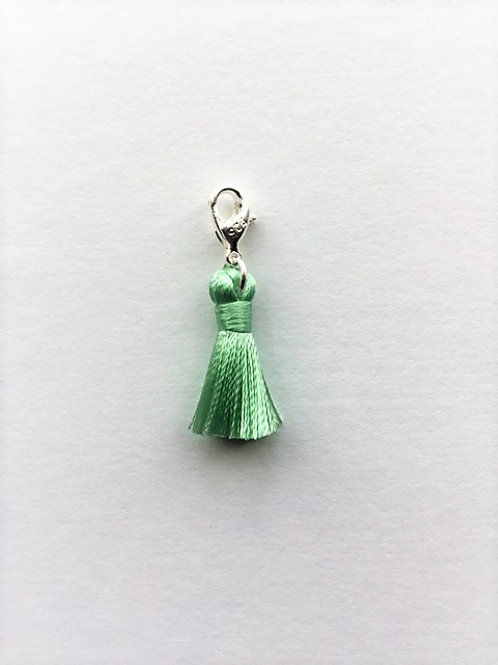 mini - mint green silk tassel charm  - 20mm