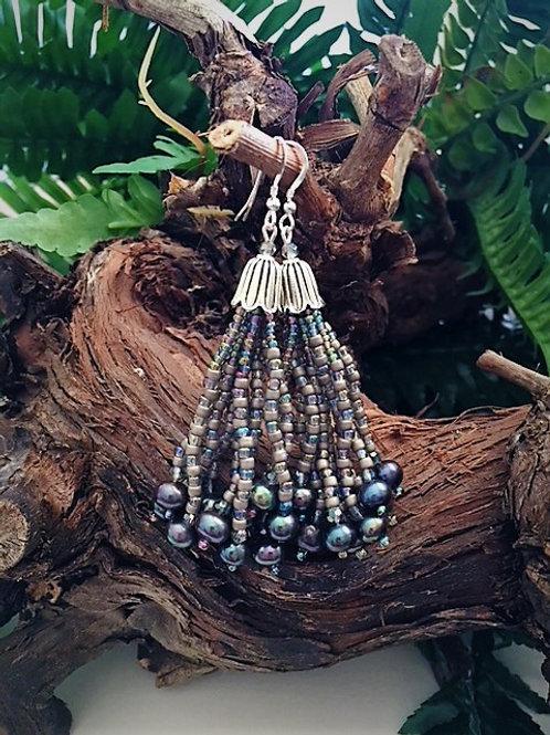 silver grey bead tassel earrings with peacock freshwater pearls