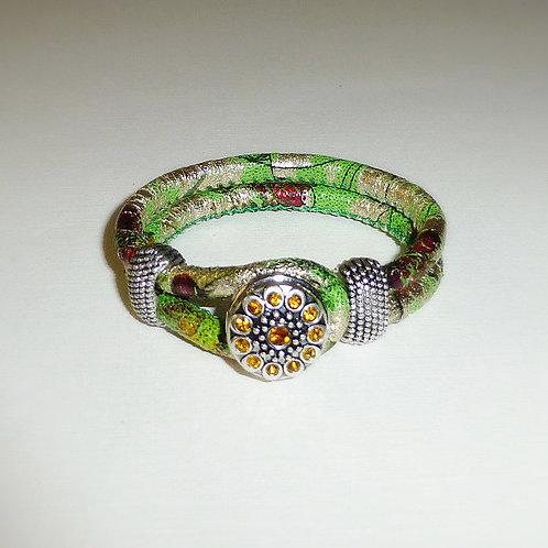 Green jungle - tropical design leather snap bracelet - 8 variations