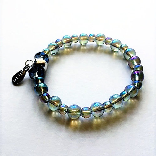 blue rainbow glass bead bracelet with tassel carrier
