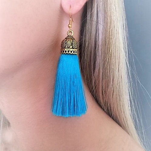 Medium chunky silk tassel earrings - turquoise
