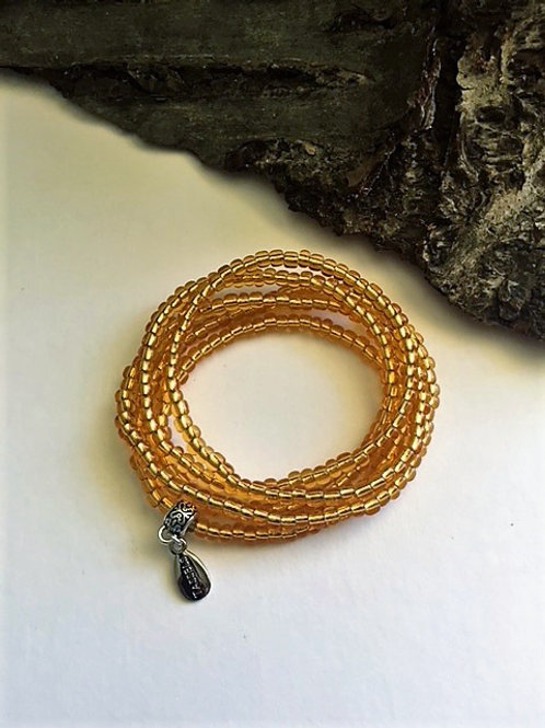 Gold wrap seed bead bracelet/necklace