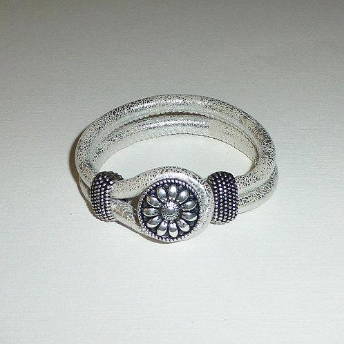Silver leather snap bracelet - 8 variations