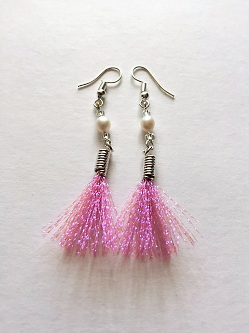 shimmer flash tassel earings with freshwater pearl - pink