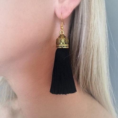 Medium chunky silk tassel earrings - black