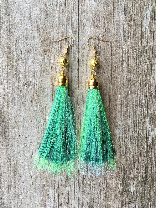 Over The Top shimmery tassel earrings - teal
