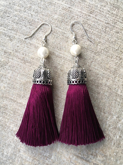 Chunky silky tassel earrings with pearls - burgundy
