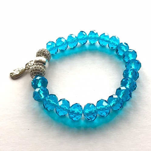 teal blue crystal and cubic zirconia bead bracelet with tassel carrier