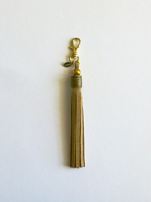classic suede tassel with brass and gold beads - X long