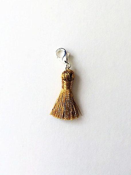 gold metallic tassel charm  - 20mm
