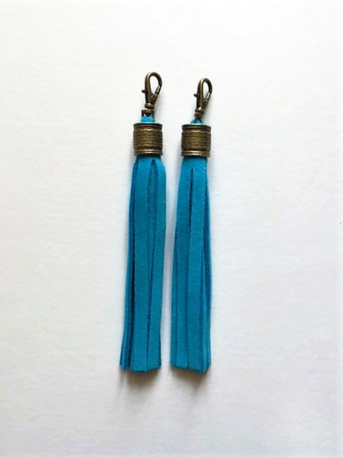 Boot tassels - turquoise suede with collar - 2 options