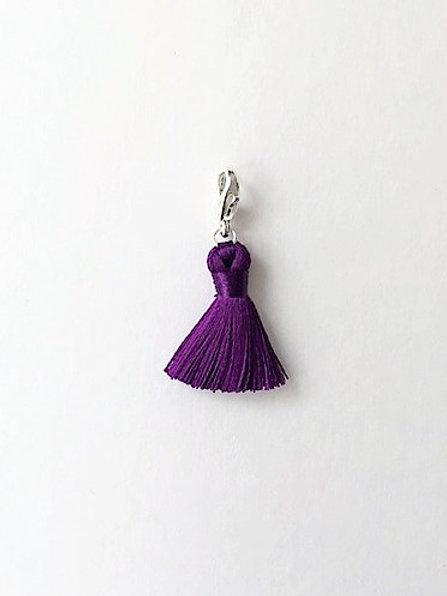 purple silk tassel charm  - 20mm