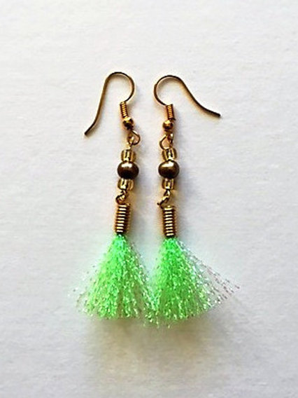 shimmer flash tassel earings with freshwater pearl - lime green