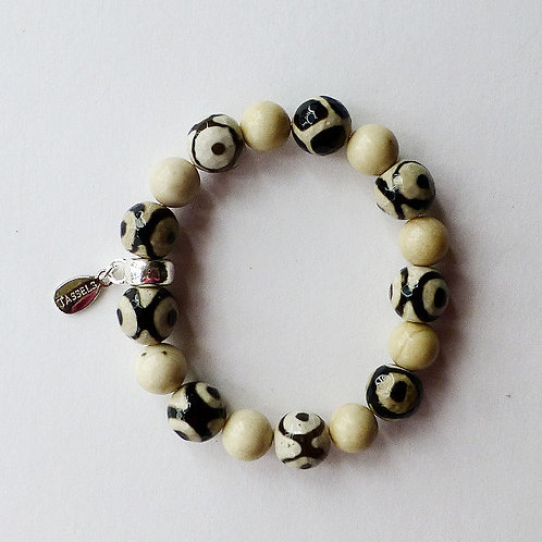 Eye pattern agate and fossil bead bracelet with charm tassel carrier