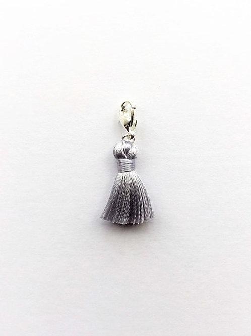 mini - silver silk tassel charm  - 20mm