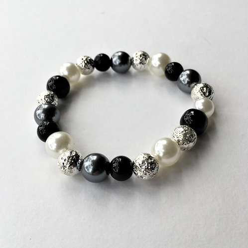 pearl and lava stone bracelet