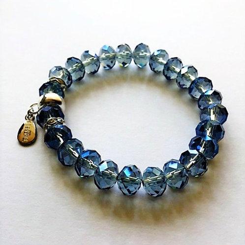 steel blue glass plated bead bracelet with tassel carrier