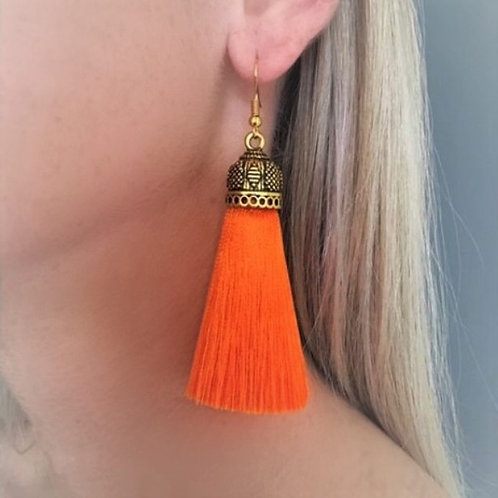 Medium chunky silk tassel earrings - orange