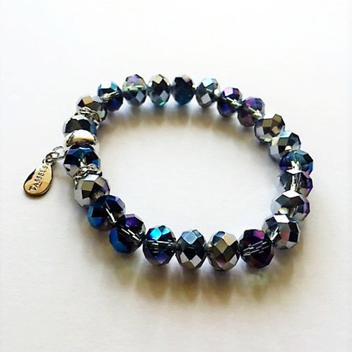 silver and blue faceted glass bead bracelet with tassel carrier