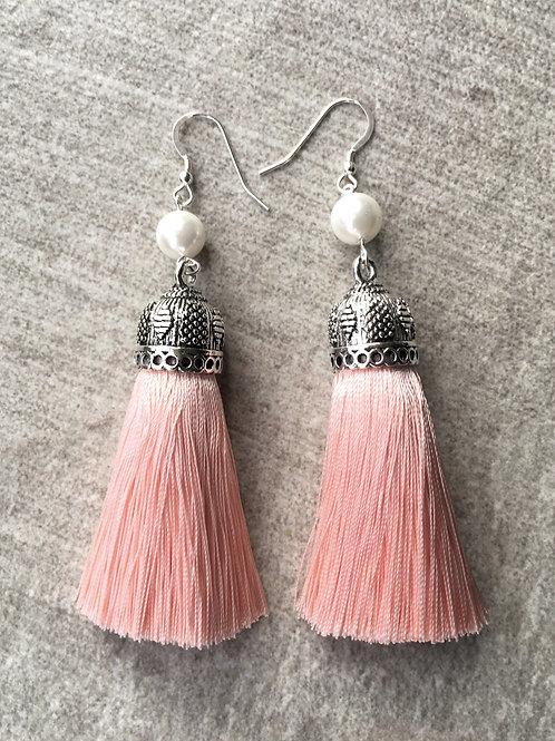 Chunky silky tassel earrings with pearls - nude pink