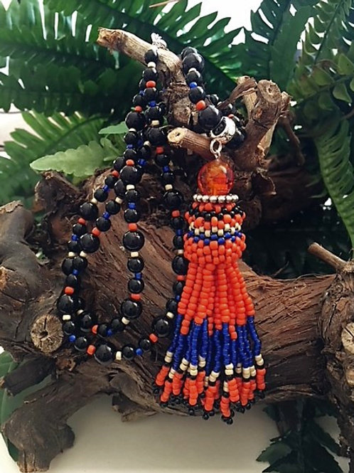 orange and electric blue beaded tassel necklace
