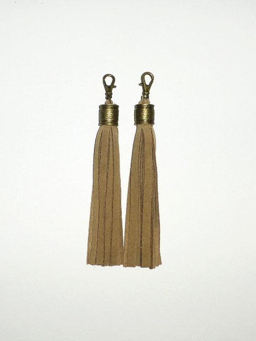 Boot tassels - walnut suede with antique brass collar