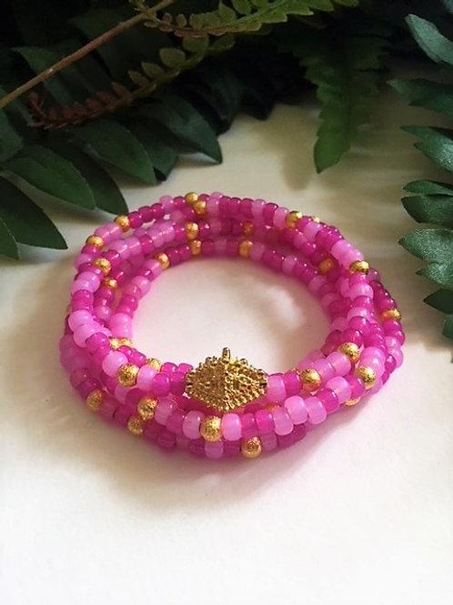 wrap seed bead bracelet/necklace - fushia with gold