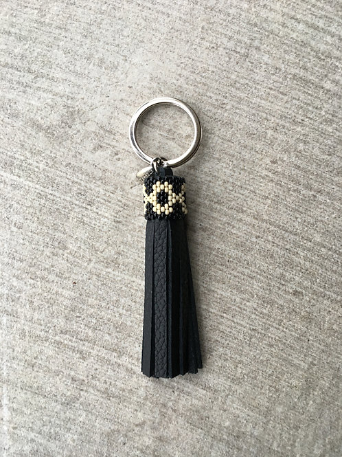 Black leather key ring tassel with beaded collar