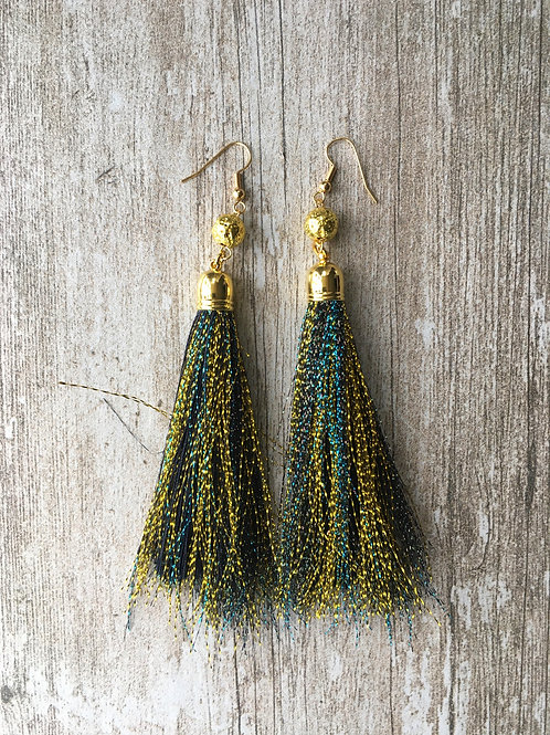 Over The Top shimmery tassel earrings - black with gold