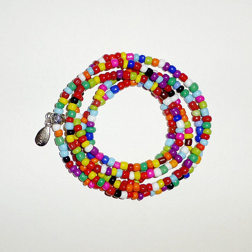 wrap seed bead bracelet - multi colour opaque