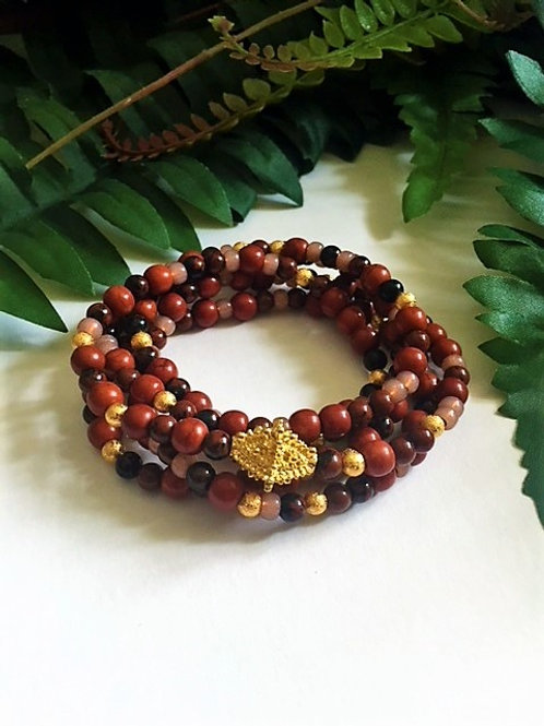 wrap bead bracelet/necklace - browns & gold