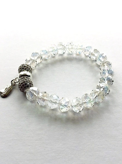 clear electroplate glass and zirconia crystal bead bracelet with tassel carrier