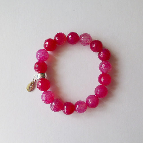 pink agate 12mm faceted bead bracelet with charm tassel carrier