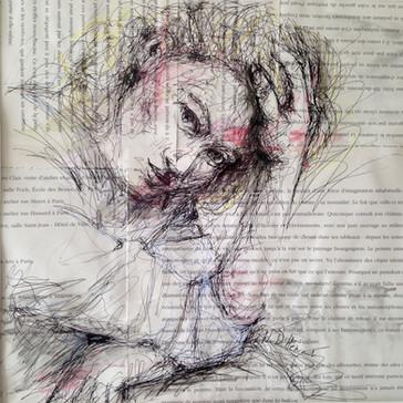 Encre et aquarelle sur papier journal. 25 X 25 cm