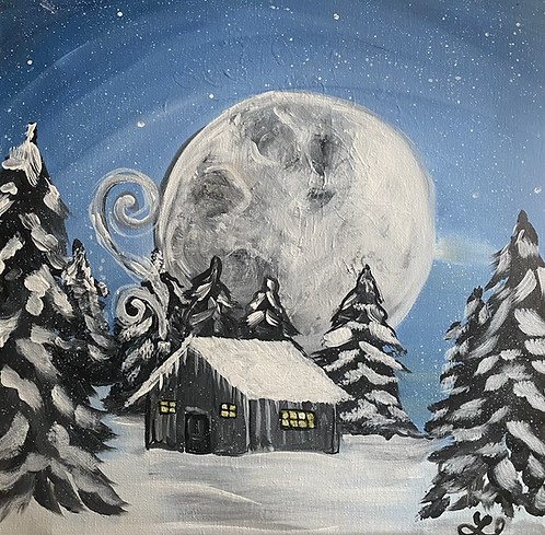 Snowy Cabin in the Woods Paint Night 12/23 @6pm