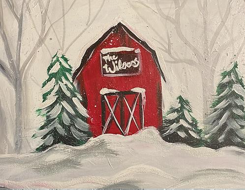 Snowy Barn Paint Night December 19th