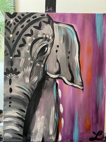 Bohemian Elephant Paint Night at the Lacy Wilson Art Studio