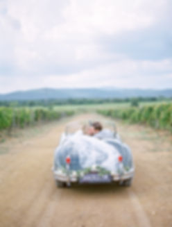 Fine Art Wedding Photography at Conti di San Bonifacio, Amy & Ashley's Portrait Shoot in their Vintage Car in the Vine Yards