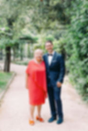 Wedding Photography Villa le Piazzole, Florence, Family Portrait in Pretty Tree Garden, Groom with his Grandma
