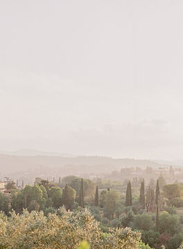 Incredible Florentine Vistas in evening light overlooking Florence on couple's wedding day. Fine Art Wedding Photographer Florence, Italy.