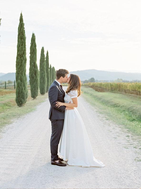 luxury destination wedding photographer italy bride & groom cypress trees