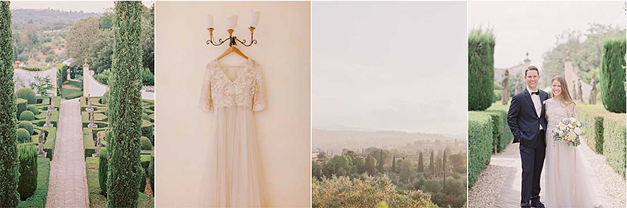 Luxury Wedding at Villa le Piazzole. Bride's dress, ornate gardens, florentine vistas, bride and groom photo session
