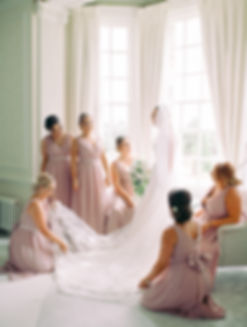 Final, precious moments photos with her maids, before Tara marries Matthew at Hedsor House in Buckinghamshire.
