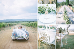 Luxury Bride and Groom in dreamy vintage car in Wine fields in Tuscany on their wedding day.